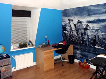 Entree trappenhuis slaapkamer kinderkamer werkkamer voorkleur - Blauwe en grijze jongens kamer ...