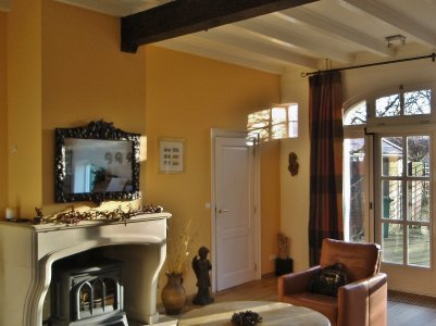 woonkamer met gele wand